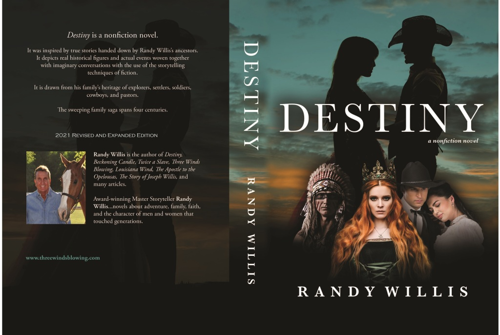 Destiny is a sweeping family saga that spans four centuries. It is the story of two great nations and Randy Willis's ancestor's struggle from tyranny—religious and political. A powerful epic with love stories, battles, testimonies, drama, politics, history, and even humor. Inspired by true stories.